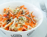 pe-tsai cabbage salad with carrot, dill, olive oil and poppy seed