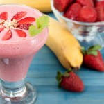 Banana smoothie with strawberries and yogurt.